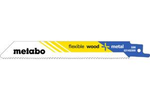 2 пилкових полотна Metabo для шабельних пилок «flexible wood + metal». 150 x 0.9 мм (631094000)