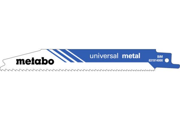 2 пилкових полотна Metabo для шабельних пилок «universal metal». 150 x 0.9 мм (631911000)