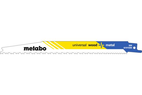 5 пилкових полотен Metabo для шабельних пилок «universal wood + metal». 200 x 1.25 мм (631915000)