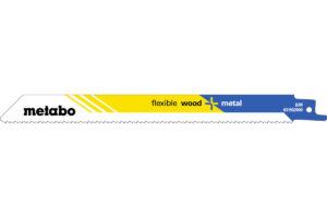 200 пилкових полотен Metabo для шабельних пилок «flexible wood + metal». 200 x 0.9 мм (625497000)