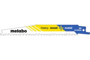 100 пилкових полотен Metabo для шабельних пилок «heavy wood + metal». 150 x 1.25 мм (628259000)