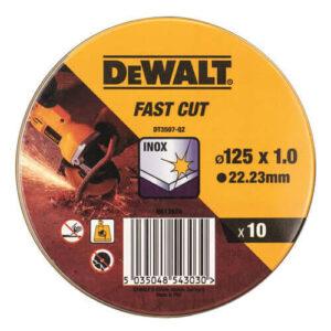 Набір кіл відрізних INOX по металу, 125 x1,0 х22,23мм, 10 шт, DeWALT DT3507