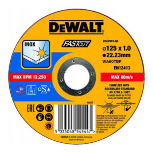 Круг відрізний INOX FASTCUT по металу, 125 х 1.0 х 22.23 мм, DeWALT DT43902 DeWALT