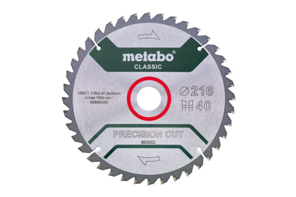 Пилкове полотно Metabo «precision cut wood — classic», 216×30, Z40 WZ 5°neg. (628060000)