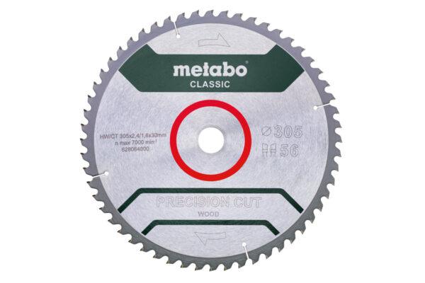 Пилкове полотно Metabo «precision cut wood — classic», 305×30, Z56 WZ 5° neg (628064000)