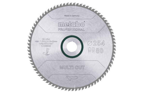 Пилкове полотно Metabo «multi cut — professional», 254×30, Z80 FZ/TZ, 5° (628093000)