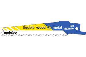 5 пилкових полотен Metabo для шабельних пилок «flexible wood + metal». 100 x 0.9 мм (628265000)