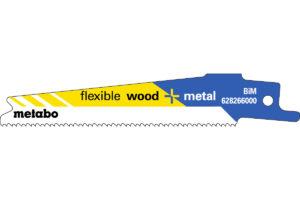 5 пилкових полотен Metabo для шабельних пилок «flexible wood + metal». 100 x 0.9 мм (628266000)