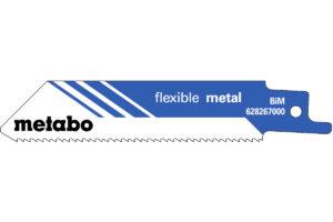 5 пилкових полотен Metabo для шабельних пилок «flexible metal». 100 x 0.9 мм (628267000)