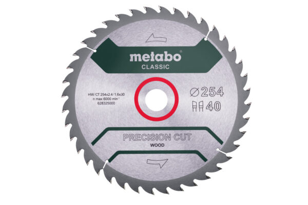 Пилкове полотно Metabo «precision cut wood — classic», 254×30, Z40 WZ 20° (628325000)