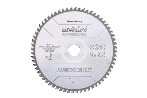 Пилкове полотно Metabo «aluminium cut — professional», 254×30 Z72 FZ/TZ 5°neg (628447000)
