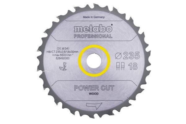 Пилкове полотно Metabo «power cut wood — professional», 235×30 Z18 FZ/FA 10° (628492000)