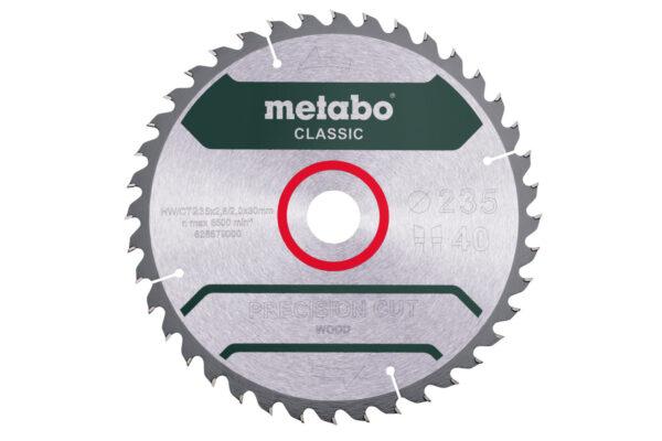 Пилкове полотно Metabo «precision cut wood — classic», 235×30 Z40 WZ 15° (628679000)